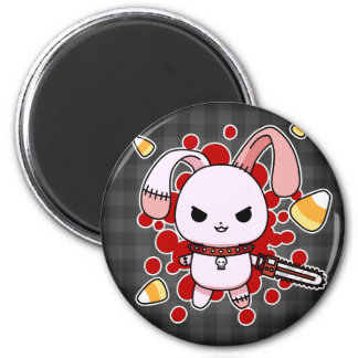 Cute Kawaii evil bunny with chainsaw Magnet