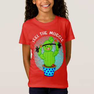 Cute Kawaii Feel The Muscle Smiling Cactus Plant T-Shirt
