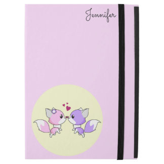 Cute kawaii foxes cartoon in pink and purple