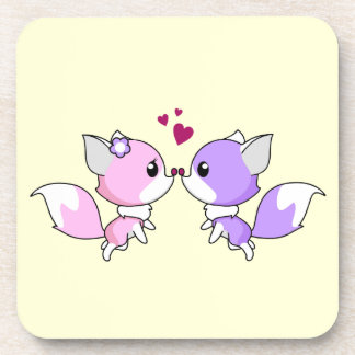 Cute kawaii foxes cartoon in pink and purple girl coasters