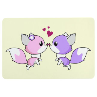 Cute kawaii foxes cartoon in pink and purple girl floor mat