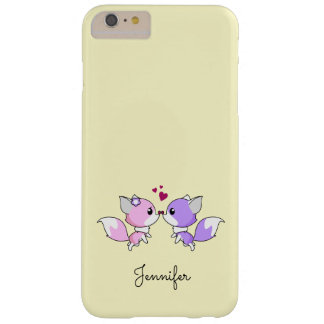 Cute kawaii foxes cartoon in pink and purple girls barely there iPhone 6 plus case