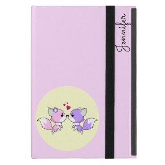 Cute kawaii foxes cartoon in pink and purple girls cover for iPad mini