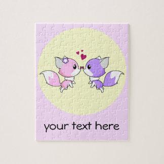 Cute kawaii foxes cartoon in pink and purple girls jigsaw puzzle