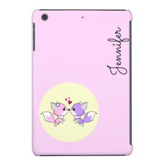 Cute kawaii foxes cartoon in pink and purple iPad mini retina cases