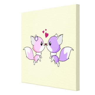 Cute kawaii foxes cartoon in pink and purple stretched canvas prints