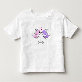 Cute kawaii foxes cartoon in pink purple toddler toddler T-Shirt