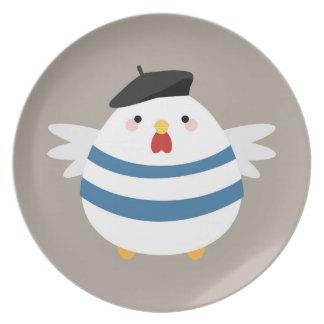 Cute Kawaii French Hen Illustration Dinner Plates