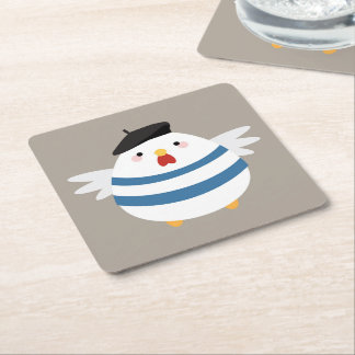 Cute Kawaii French Hen Illustration Square Paper Coaster
