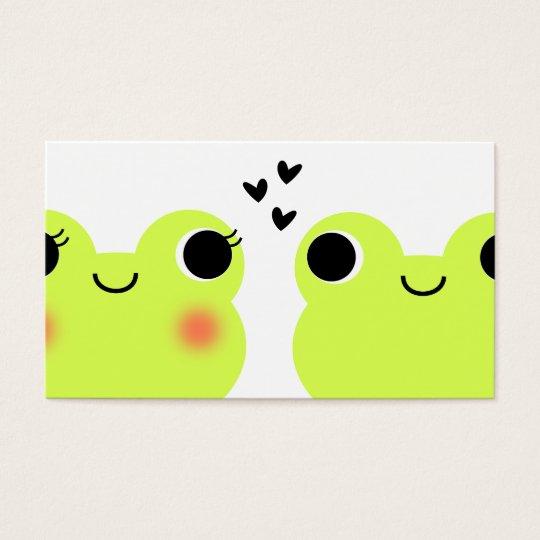 Cute Kawaii Frog Couple Matchmaking Business Card
