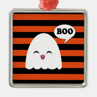 CUTE KAWAII GHOST Silver-Colored SQUARE DECORATION