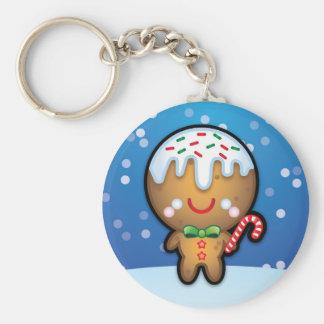 Cute Kawaii Gingerbread Man Christmas Keyring Basic Round Button Key Ring