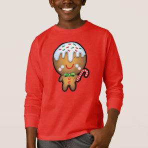 Cute Kawaii Gingerbread Man Christmas Kids Jumper T-Shirt