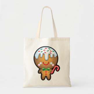 Cute Kawaii Gingerbread Man Christmas Shopping Bag