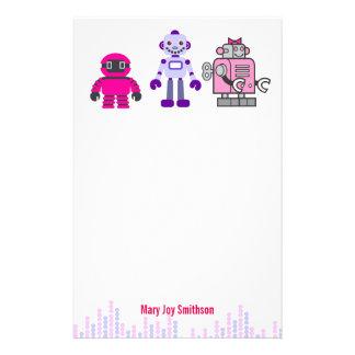 Cute & Kawaii Girl's Pink Cyborgs Robot Personalized Stationery