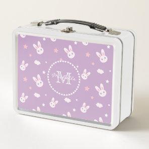 Cute Kawaii Girly Pink Bunny Rabbit Pastel Purple Metal Lunch Box