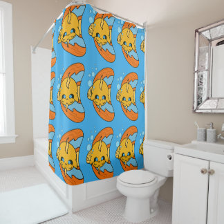 Cute Kawaii Goldfish shower curtain