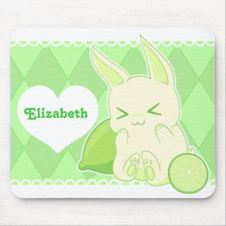 Cute kawaii green lime bunny mouse pad