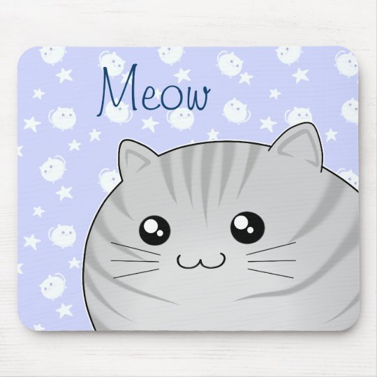 Cute Kawaii grey tabby kitty cat Mouse Mat