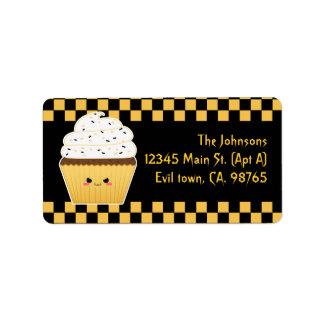 Cute Kawaii Halloween cupcake Address Label