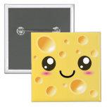 Cute Kawaii Happy Cheese 15 Cm Square Badge