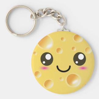 Cute Kawaii Happy Cheese Basic Round Button Key Ring