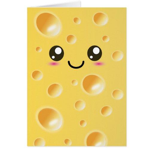 Cute Kawaii Happy Cheese Greeting Card