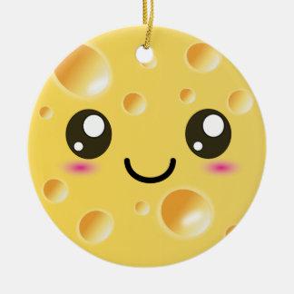 Cute Kawaii Happy Cheese Round Ceramic Decoration