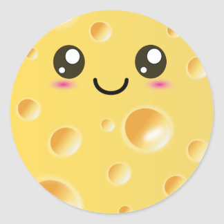 Cute Kawaii Happy Cheese Round Sticker
