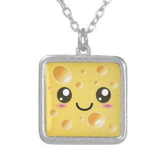 Cute Kawaii Happy Cheese Silver Plated Necklace
