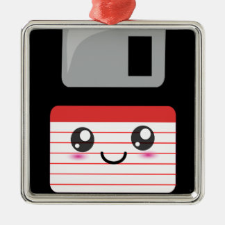 Cute / Kawaii Happy Floppy Disk Square Metal Christmas Ornament
