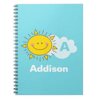 Cute Kawaii Happy Sunshine Monogram Add Your Name Notebooks