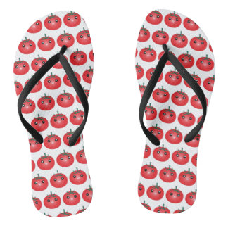 Cute Kawaii Happy Tomato Manga Cartoon Flip Flops