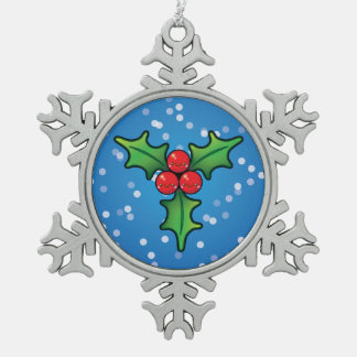 Cute Kawaii Holly Berry Christmas Tree Decoration Pewter Snowflake Decoration