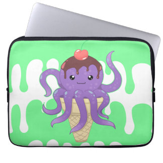 Cute kawaii ice cream purple octopus laptop sleeve