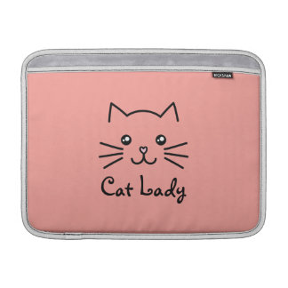 Cute Kawaii Kitten Cat Face Cat Lover Minimalist MacBook Sleeve