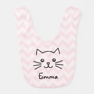 Cute Kawaii Kitten Cat Face With Pink Heart Nose Bib