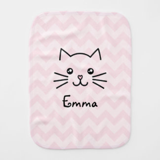 Cute Kawaii Kitten Cat Face With Pink Heart Nose Burp Cloth
