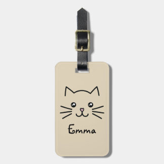 Cute Kawaii Kitten Cat Face With Pink Heart Nose Luggage Tag