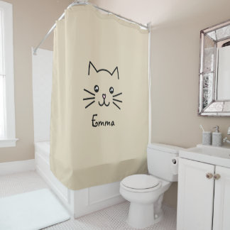 Cute Kawaii Kitten Cat Face With Pink Heart Nose Shower Curtain