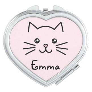 Cute Kawaii Kitten Cat Face With Pink Heart Nose Vanity Mirror