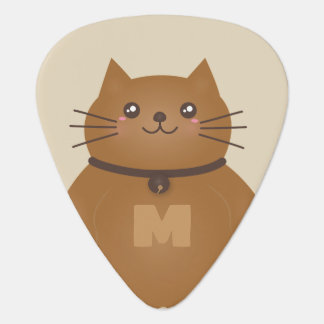 Cute Kawaii Kitten Cat Lover Whimsical Monogram Plectrum