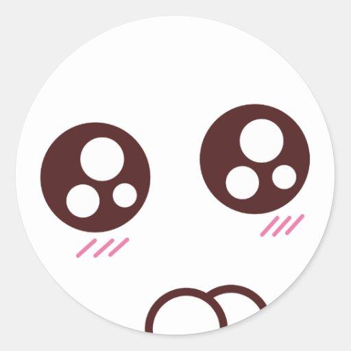 cute kawaii kitten emoji round sticker zazzle