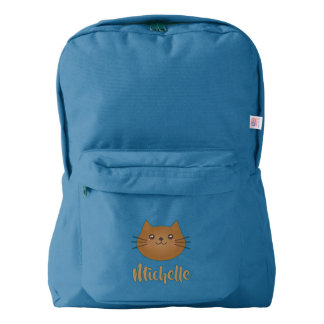 Cute Kawaii Kitty Cat Lover Monogram Add Your Name Backpack