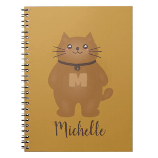 Cute Kawaii Kitty Cat Lover Monogram Add Your Name Notebook