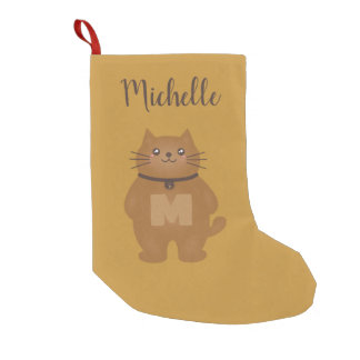 Cute Kawaii Kitty Cat Lover Monogram Add Your Name Small Christmas Stocking