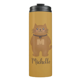 Cute Kawaii Kitty Cat Lover Whimsical Monogram Thermal Tumbler