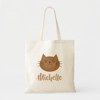 Cute Kawaii Kitty Cat Lover Whimsical Monogram Tote Bag