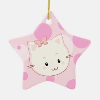 Cute Kawaii Kitty Cat with Bow in Pinks Ceramic Star Decoration