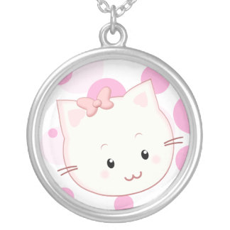Cute Kawaii Kitty Cat with Bow in Pinks Round Pendant Necklace